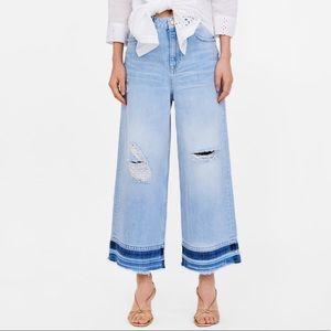 Zara Contrasting Culotte Jeans Women US 2